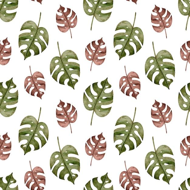 Aquarela sem costura padrão tropical com folhas de palmeira monstera marrom e verde. fundo exótico. Foto Premium