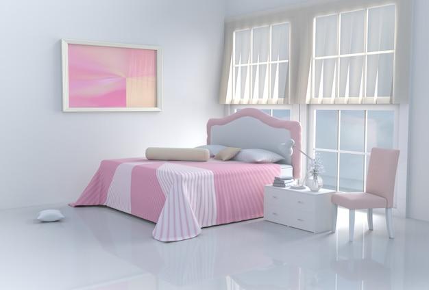 Aqueça o quarto cor-de-rosa da cama no dia feliz. 3d rendem. Foto Premium