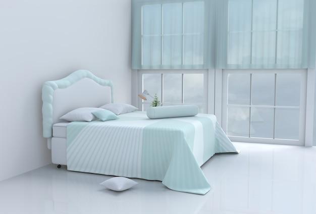 Aqueça o quarto verde da cama no dia feliz. 3d rendem. Foto Premium