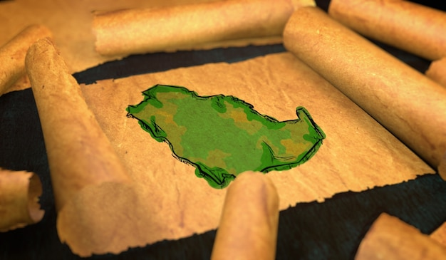 Arábia saudita mapa pintura desdobrando papel velho rollo 3d Foto Premium