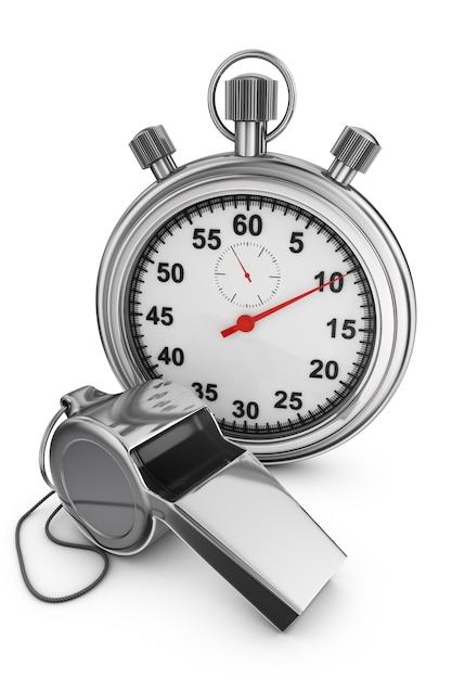 Árbitro assobio e cronômetro em um fundo branco. renderização 3d. Foto Premium