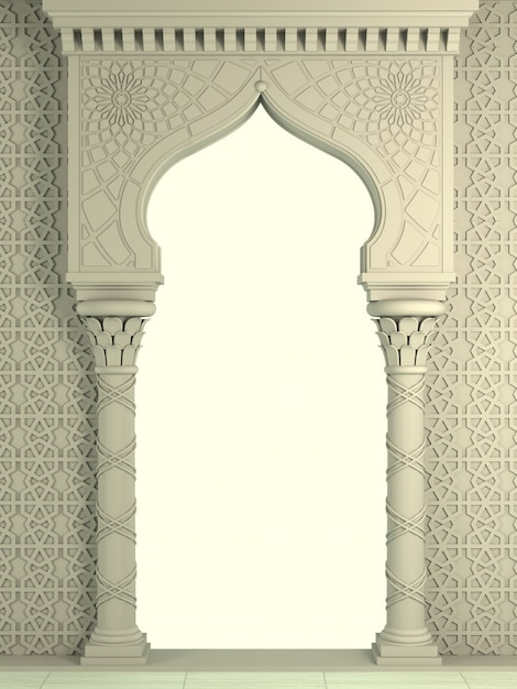 Arco de biege oriental do mosaico. arquitetura esculpida e colunas clássicas. estilo indiano. moldura arquitetônica decorativa. Foto Premium