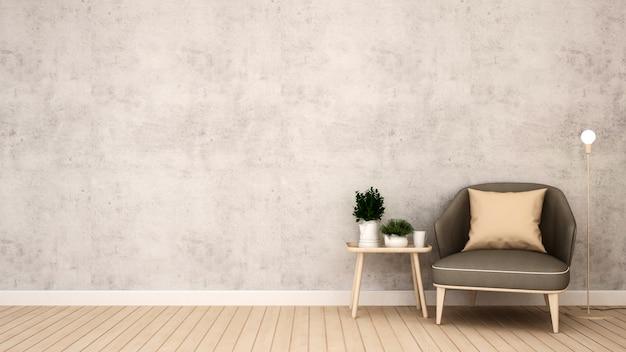 Área de estar em café ou restaurante - renderização em 3d Foto Premium