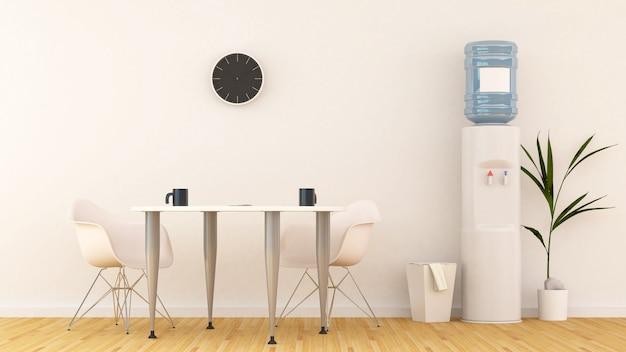 Área de reuniões ou despensa no escritório-3d rendering Foto Premium