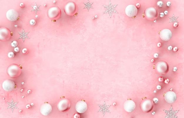 Armação de borda de decoração 3d de natal com bola de natal, floco de neve em fundo rosa. natal, inverno, ano novo. vista plana leiga, superior, copyspace. Foto Premium