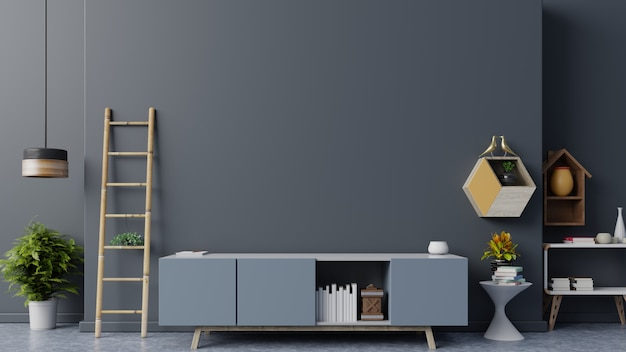 Armário da tevê na sala vazia moderna, projetos mínimos. Foto Premium
