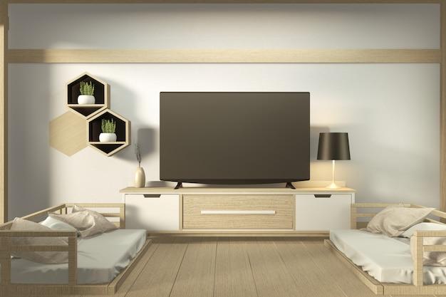 Armário da tevê no quarto vazio moderno - estilo zen japonês, projetos mínimos. renderização em 3d Foto Premium