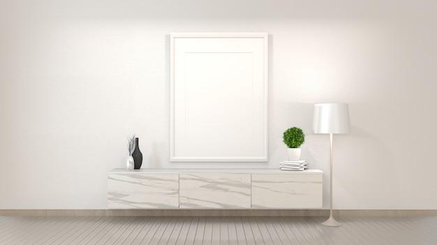 Armário de granito no quarto vazio zen moderno, desenhos mínimos. renderização em 3d Foto Premium