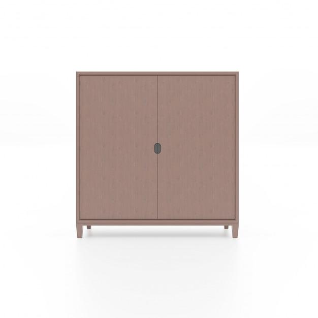 Armário de madeira marrom isolado Foto Premium