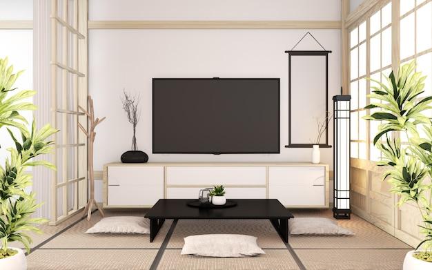 Armário de madeira mínimo no estilo japonês de sala. renderização em 3d Foto Premium