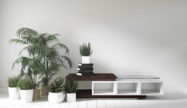 Armário de madeira no quarto estilo japonês. renderização 3d Foto Premium