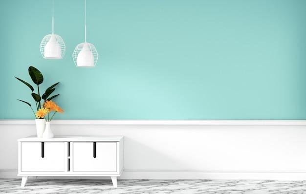 Armário de mesa na sala vazia de hortelã moderna, desenhos minimalistas, renderização em 3d Foto Premium