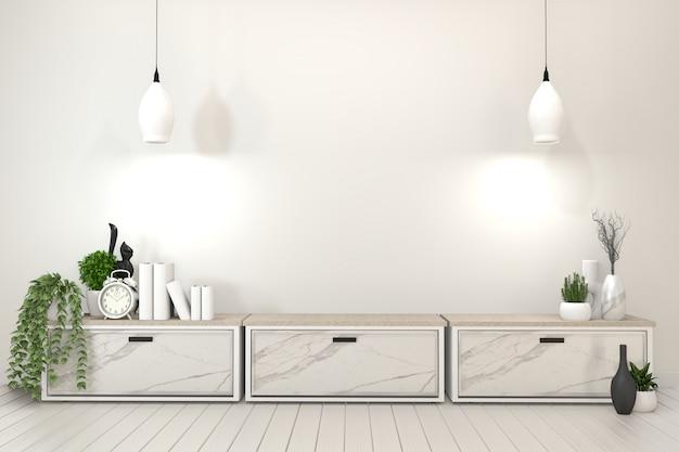 Armário de prateleira de tv na moderna sala vazia. renderização em 3d Foto Premium