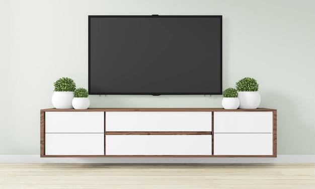 Armário design de madeira na moderna sala vazia japonês - estilo zen, design minimalista. renderização em 3d Foto Premium
