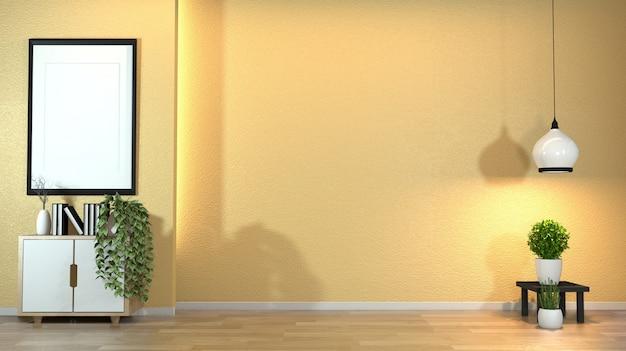 Armário na sala de visitas moderna do zen com estilo do zen do decoraion na luz escondida do projeto amarelo da parede. Foto Premium