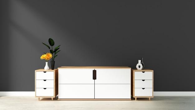 Armário na sala vazia moderna, parede azul preta no assoalho de madeira, rendição 3d Foto Premium