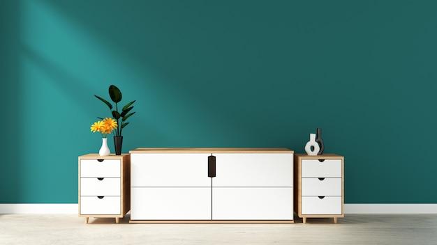 Armário na sala vazia moderna, parede verde escuro no assoalho de madeira, rendição 3d Foto Premium