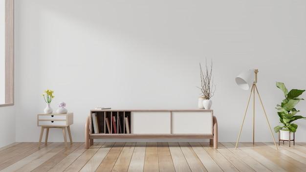 Armários e parede para tv na sala, paredes brancas. Foto Premium