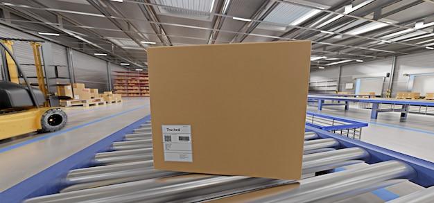 Armazém mercadorias estoque fundo renderização em 3d Foto Premium
