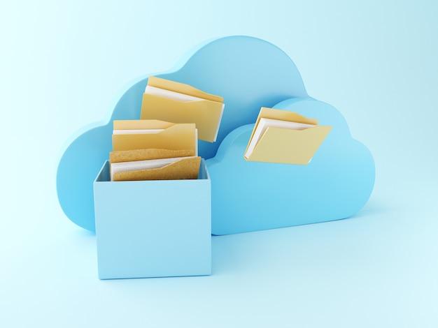 Armazenamento de arquivo 3d na nuvem. Foto Premium