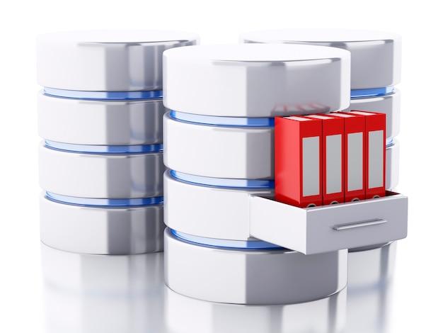Armazenamento de dados 3d com pastas Foto Premium