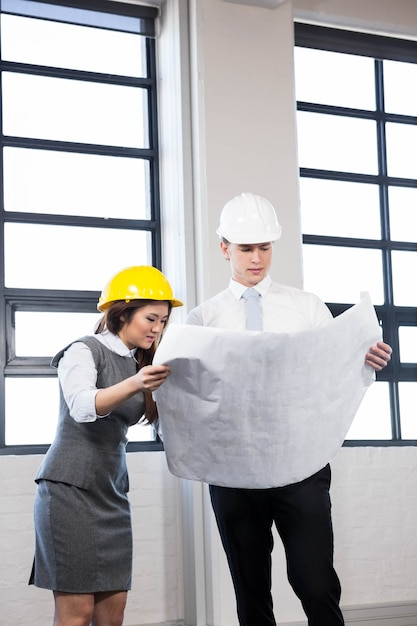 Arquitetos olhando planta no escritório Foto Premium