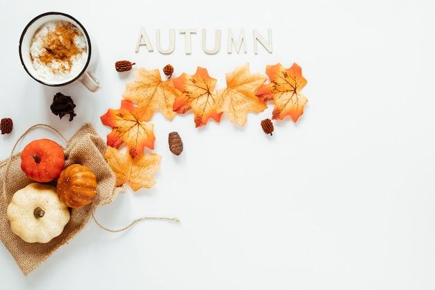 Arranjo de outono vista superior em fundo branco Foto gratuita