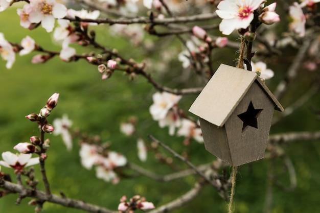 Arranjo de pequena casa de madeira em uma árvore Foto gratuita