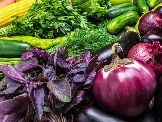 Arranjo legumes frescos - milho, salada verde, coentro, berinjela, pepino, manjericão Foto Premium