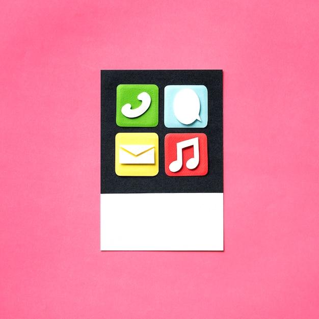 Arte de artesanato de papel de ícones de aplicativos e mídia Foto gratuita