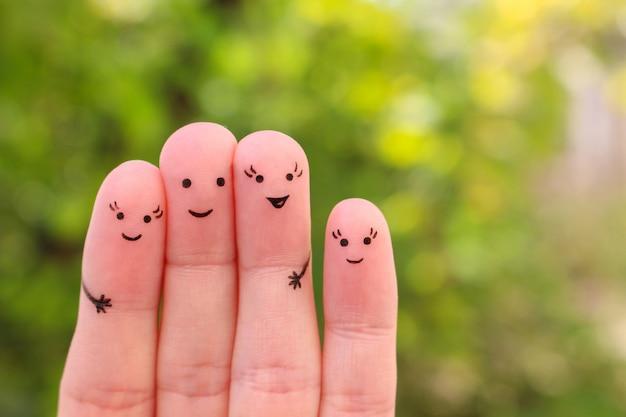 Arte de dedos de namorada feliz. Foto Premium