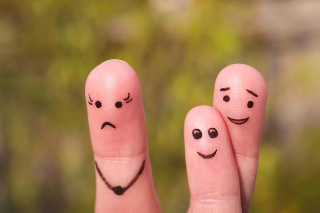 Arte do dedo da família durante a discussão. conceito de criança é amigo de seu pai. Foto Premium