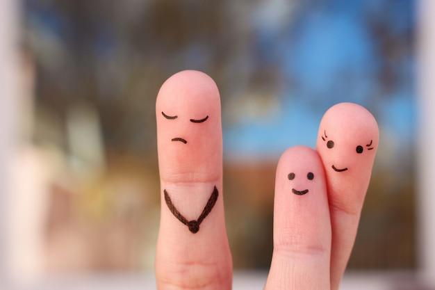 Arte do dedo da família durante a discussão. Foto Premium