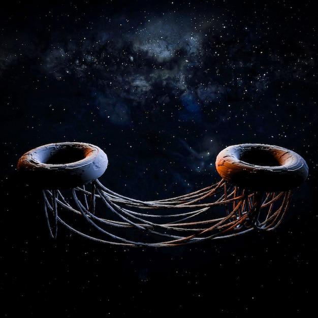 Arte do espaço. futurista. ilustração 3d Foto Premium