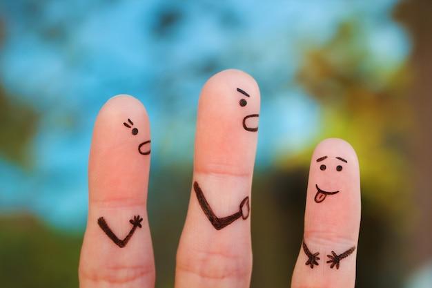 Arte dos dedos da família durante a discussão Foto Premium
