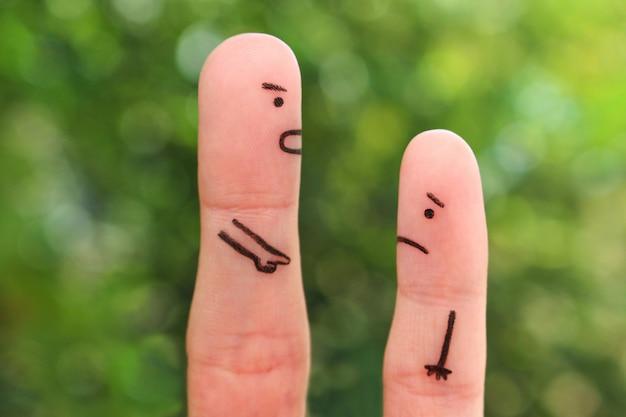 Arte dos dedos das pessoas. conceito de homem repreendendo a criança. Foto Premium
