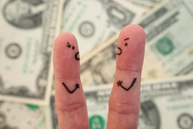 Arte dos dedos do casal com dinheiro borrado. conceito de homem e mulher gritando um com o outro. Foto Premium