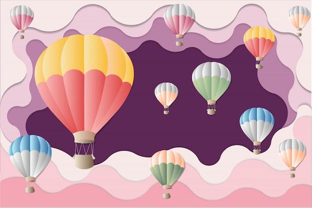 Arte finala internacional da festa do balão - balão colorido no fundo roxo. Foto Premium