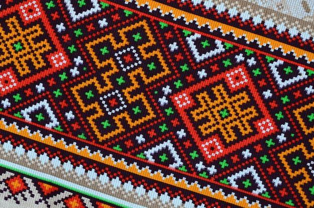 Arte folclórica ucraniana tradicional de malha padrão de bordado em tecido Foto Premium