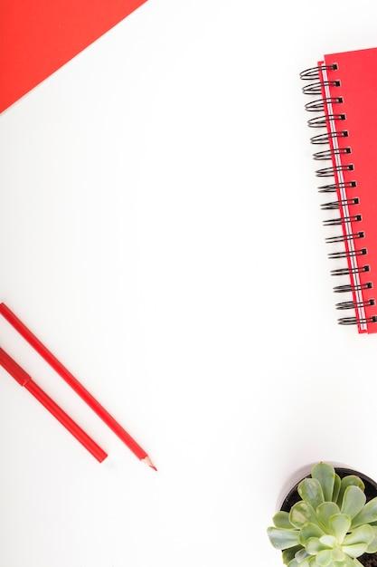 Artigos de papelaria coloridos vermelhos e planta em vaso no fundo branco Foto gratuita