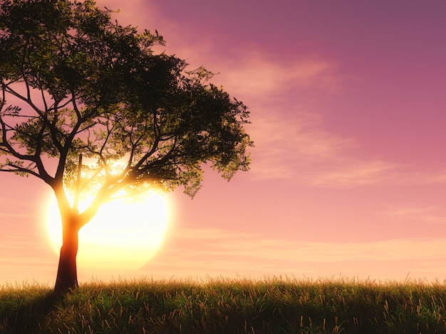 Árvore 3d contra um céu do por do sol Foto gratuita