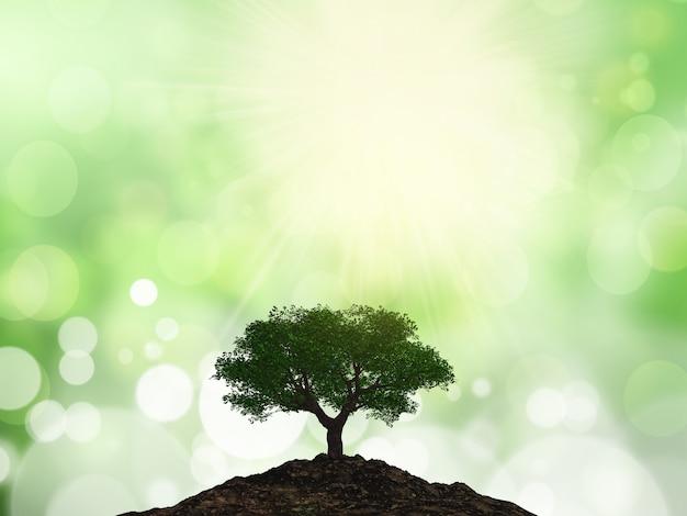 Árvore 3d em um monte de solo Foto gratuita