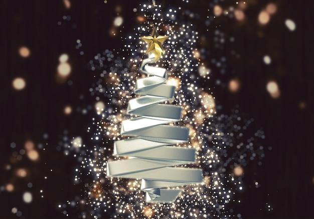 Árvore de natal 3d com efeito de luzes de bokeh brilho Foto gratuita