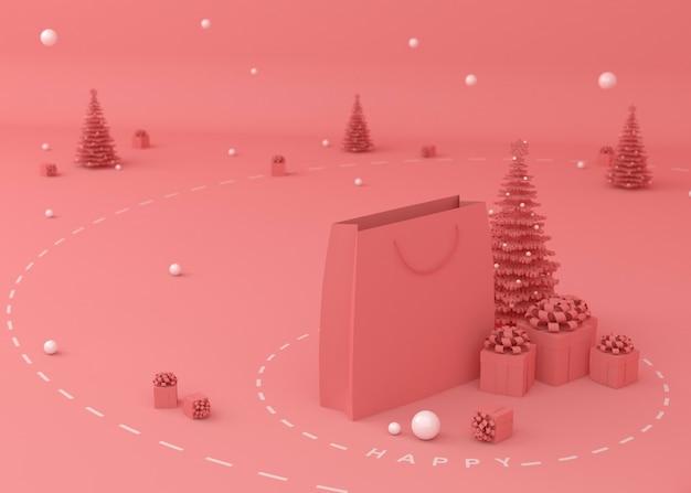 Árvore de natal, caixa de presente e sacolas de compras Foto Premium