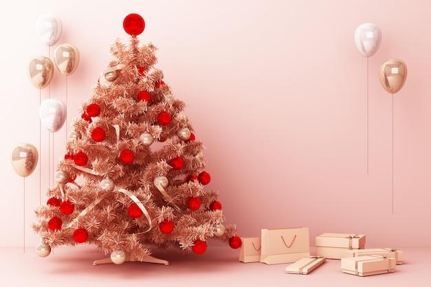 Árvore de natal e balão de ouro rosa com decorações e caixas de presente para feliz natal renderização em 3d Foto Premium