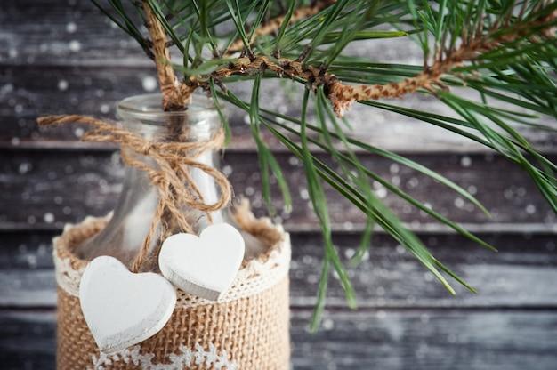 Árvore de natal em garrafa rústica Foto Premium
