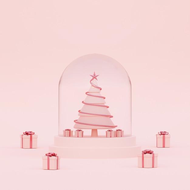 Árvore de natal em um globo de cristal em uma renderização em 3d fundo rosa Foto Premium