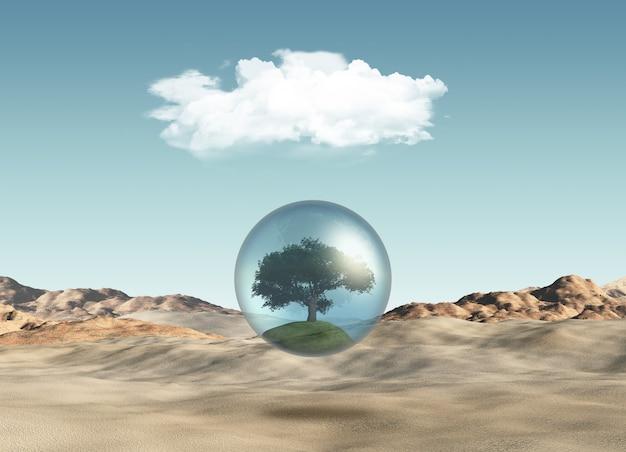 Árvore no globo contra uma cena do deserto Foto gratuita