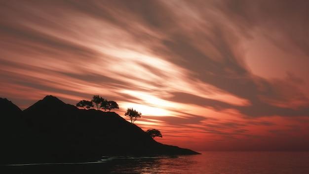 Árvores 3d na ilha contra um céu pôr do sol Foto gratuita