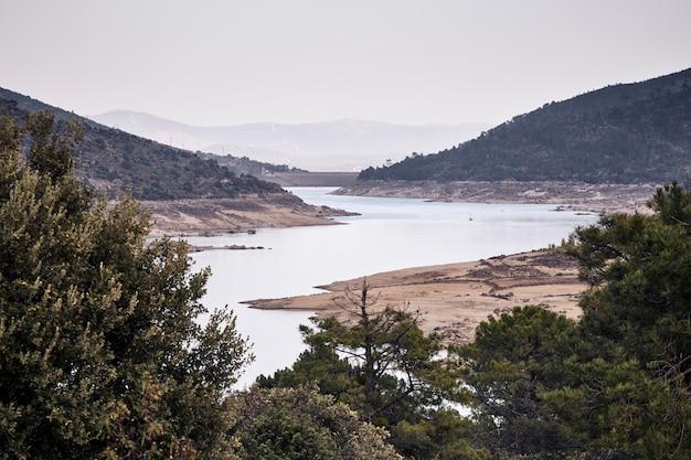 Árvores ao redor de uma represa com pouca água Foto Premium